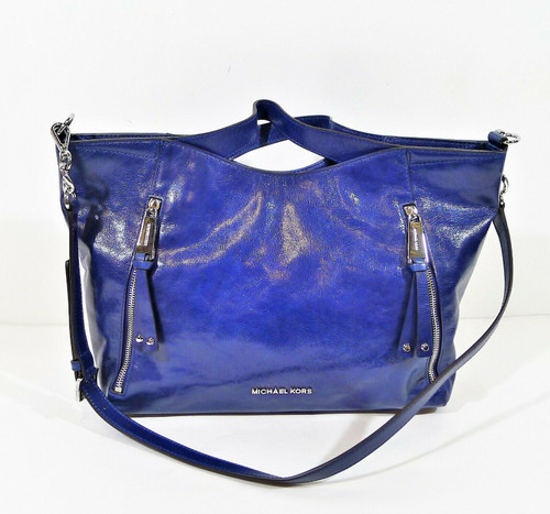Michael Kors Cobalt Blue Patent Leather Satchel Purse **SMALL SCRATCH ON FRONT