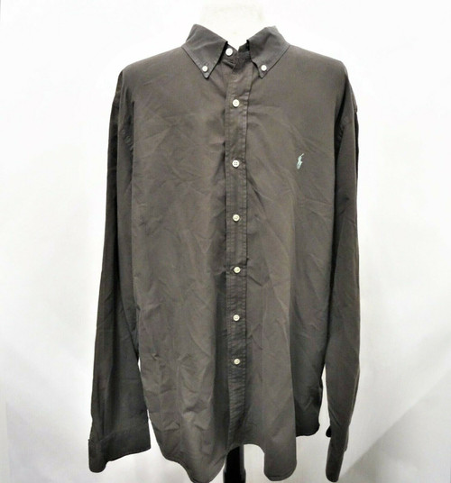 Ralph Lauren Men's Dark Smoke Classic Button Down Dress Shirt Size XXL