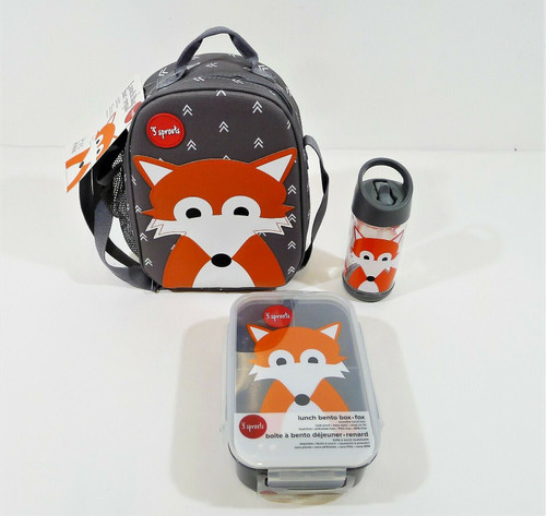 3 Sprouts Fox Lunch Bag, Bento Box and 12 oz Water Bottle - NEW