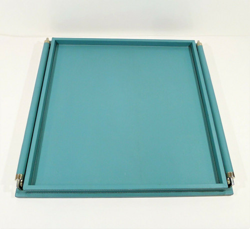 "Global Views Turquoise Large Wrapped Handle Tray Leather  24"" L x 24"" W x 2.25""H"