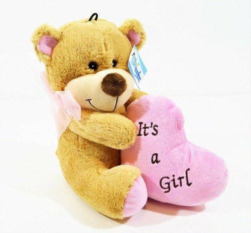 "Grriggles Bundle of Joy It's a Girl Squeaker 9.5"" Teddy Bear Dog Toy - New"