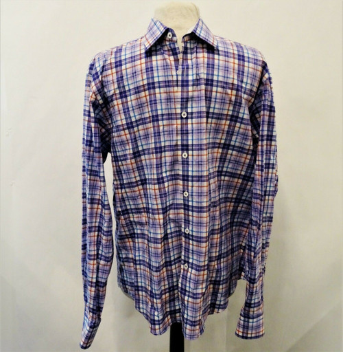Bugatchi Uomo Shaped Fit Men's Purple Plaid Button Down Dress Shirt Size Large