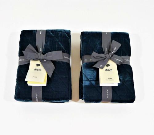 Set of 2 West Elm Emerald Green Lush Velvet Linear King Size Pillow Shams