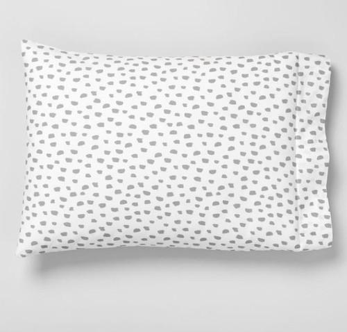 "West Elm Platinum Brushstroke Dot Organic Pillow Case Only (1)  20"" x 30"" - NEW"