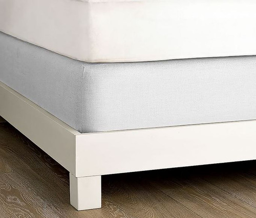 West Elm Linen Cotton White Queen Box Spring Cover - NEW