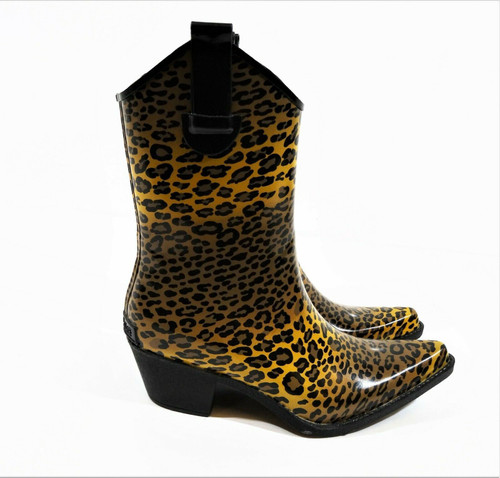 Corkys Women's Rodeo Western Cheetah Rubber Rain Boots Size 8