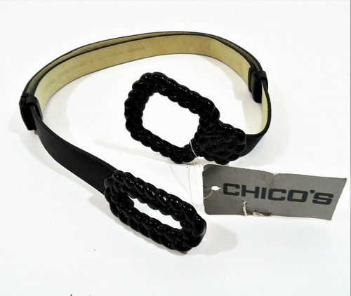 Chico's Black Braided Leather Hook On Slouch Belt Size M/L *New With Tags*