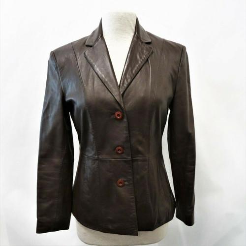 Wilson Brown Leather Women's Blazer Jacket Size Small