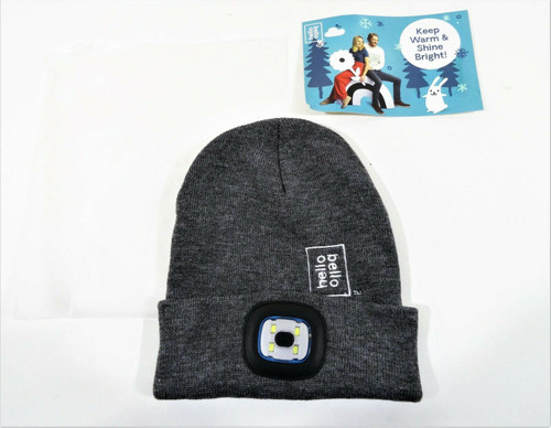 Hello Bello Gray Knit Beanie Hat with LED Light USB Chargeable New in Package