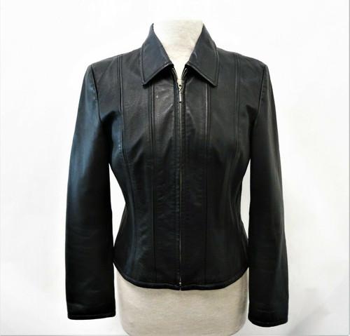 Moda International Women's Modern Zip Up Leather Jacket Size Small