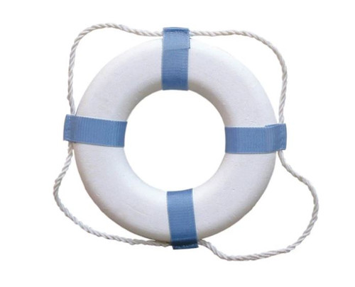 "Taylor Made White/Blue 20"" Decorative Ring Buoy - NOT USCG APPROVED - NEW"