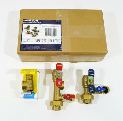 "Navien 3/4"" Tankless Water Heater Plumb Valve Set Lead Free 30009323A OPEN BOX"