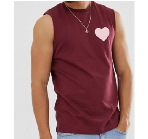 Asos Design Men's Maroon Tank Vest With Heart Chest Print Size M - NEW