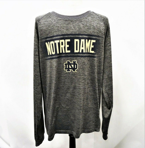 Colosseum Notre Dame Men's Gray Long Sleeve Knit Athletic Top Size Large