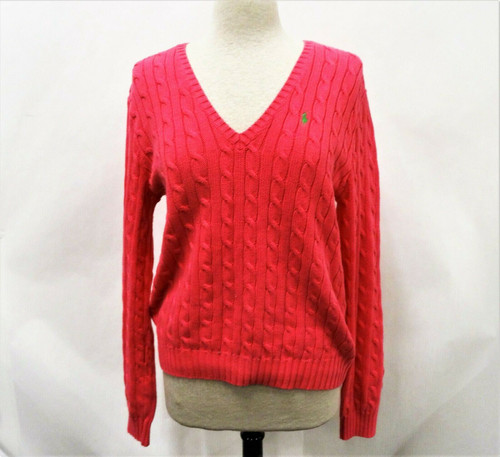 Ralph Lauren Sport Bright Pink V-Neck Cable Knit L/S Sweater Women's XL