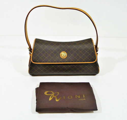 Rioni Signature Brown Top Flap Shoulder Bag ST-20012 with Dust Bag