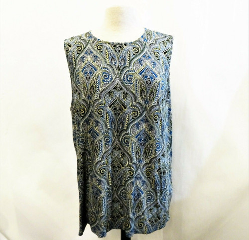 J Jill  Women's Blue Paisley Sleeveless Top Size XL *New With Tags*