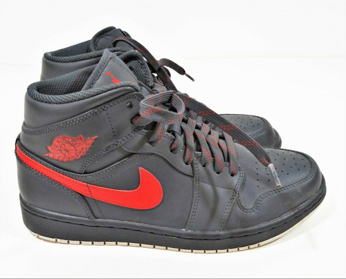 Nike Air Jordan 1 Mid Men's Gray & Red Size 8.5  Style 554725-045