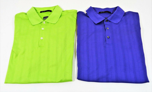 2 Tigers Woods Collection Nike Fit Dry Green & Purple Polo Golf Tops Size Large
