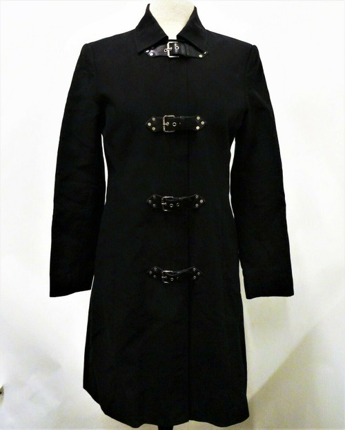 Michael by Michael Kors Women's Black Buckle Up Dress Coat Size Medium *Stain*