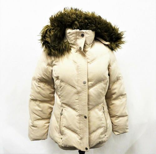 Calvin Klein Women's Beige Faux Fur Trim Hoodie Jacket Size Medium *Stains*
