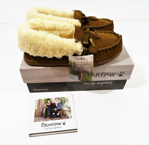 Bearpaw Indio Hickory Women's Leather Moccasin Slipper Size 10 New In Box