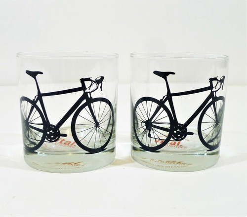 Set of 2 West Elm Vital Industries Charcoal Rocks Glass Bicycle - NEW