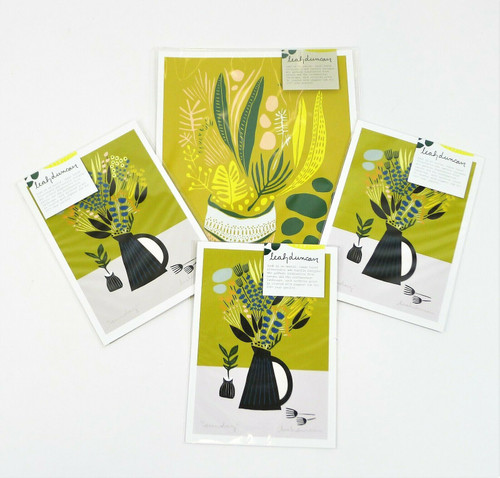 "Set of 4 Leah Duncan Prints (1) 8 x 10 ""Planty"" (3) 5 x 7 ""Sunday"" - NEW SEALED"