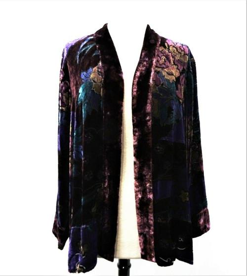 Chico's Women's Purple Plum Daze Velvet Paddington Jacket Size 3* New With Tags*