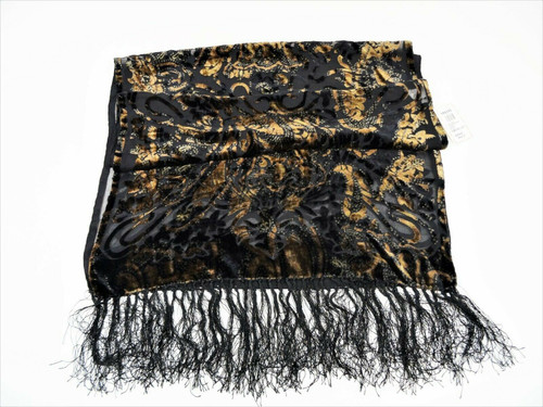Chico's Chocolate Silk Blend Velvet Floral Scarf New With Tags