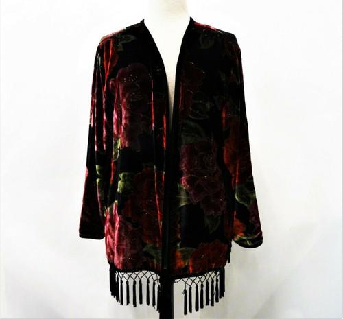 Chico's Velvet Floral Silk Blend Beaded Bohemian Jacket Size 2 *Missing Tassel*