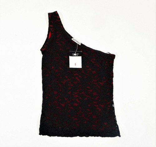 Top Shop Black Lace Red One Shoulder Tank Top Size  UK 8 Euro 36 (US 4) - NEW
