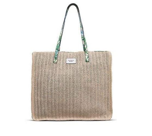 Victoria Secret Khaki Color With Fern Print Woven Tote Bag Beach Bag - NEW