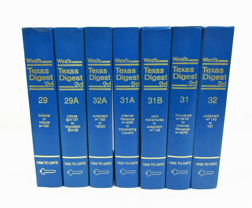 West's Texas Digest 2d Hardcover Book Set of 7 Books