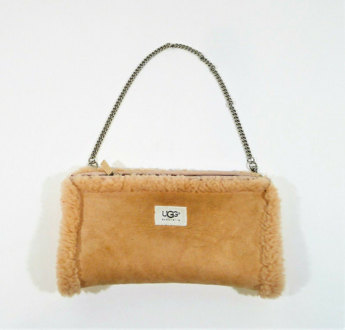 Ugg Australia Pink Suede Leather Sherpa Lined Muff Purse