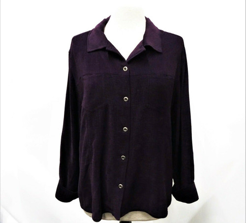 Chico's Women's Purple Silk Blend Long Sleeve Button Down Blouse Size 3 *Stain*