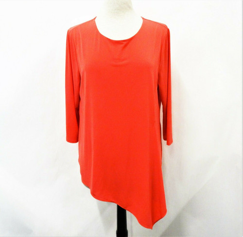 Chico's Women's Coral The Ultimate Tee Asymmetrical Knit Top Plus Size 2 *Stain*