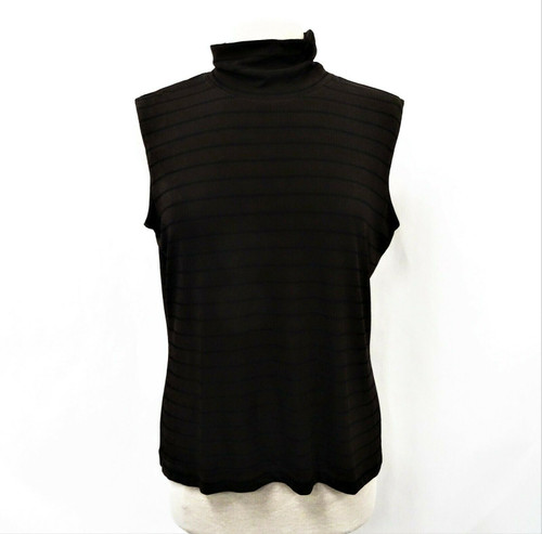 Chico's Travelers Women's Black & Brown Stripe Sleeveless Turtleneck Top Size 3