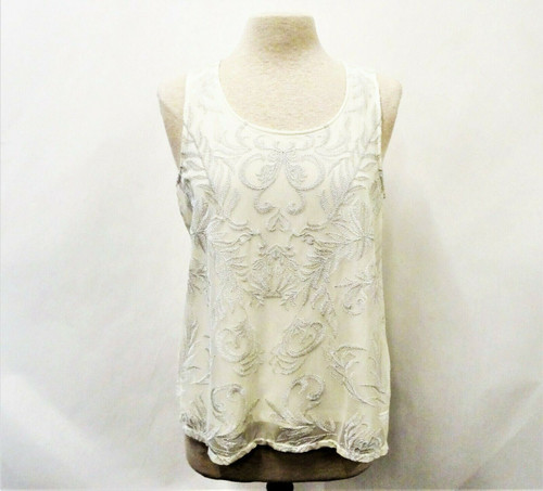 By Chico's Women's Cream Lace Front Tank Top Size 2