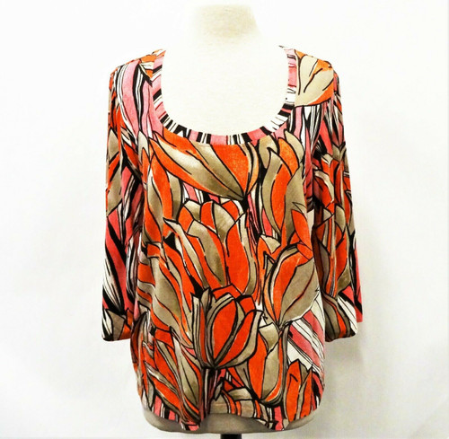 Chico's Women's Pink & Red Modern Print Floral Knit Top Size 3