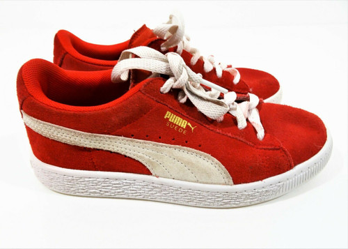 Puma Suede Red & White Unisex Child Youth Sneakers Size 3C