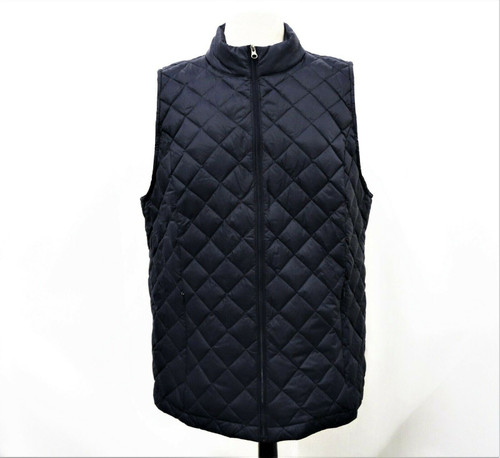 J Jill  Women's Navy Blue Down Quilted Zip Up Vest Size XL New With Tag *Stain*