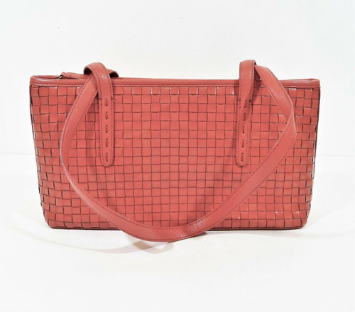 Fossil Pale Red Basket Weave Leather Shoulder Bag Purse
