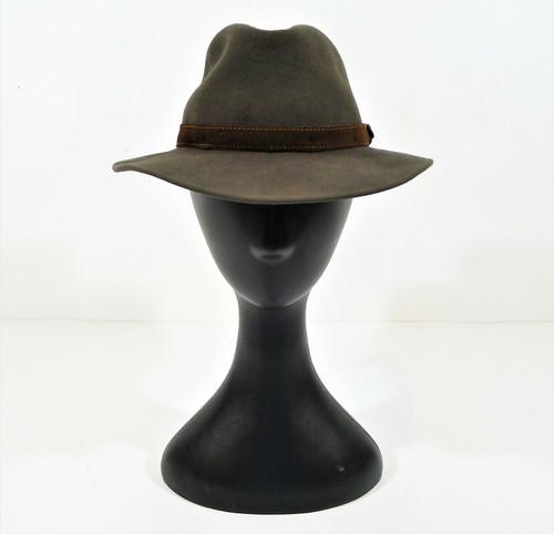 Borsalino Sage Green Leopardi Crushable Fur Felt Fedora Hat Size 6 7/8 55CM