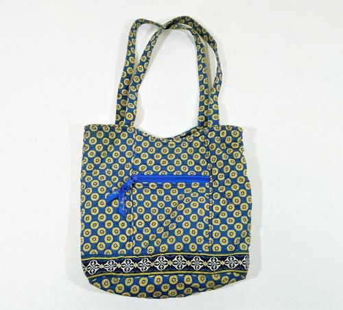 Vera Bradley Retired Rivera Blue Shoulder Bag Tote Purse
