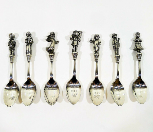 Set of 7 Reed & Barton Silverplated Children of Christmas Spoons - *MISSING 1982