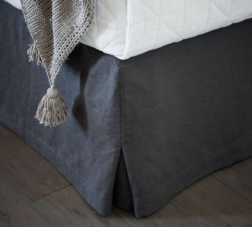 West Elm Slate Full Belgian Flax Linen Bed Skirt Only - NEW WITH TAGS