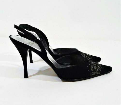 Stuart Weitzman Black Rhinestone Pointed Toe Slingback Heels Size 8.5 M
