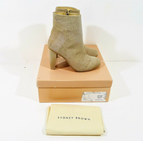 Sydney Brown Gray Wood Ash Cork Vegan Leather Ankle Boot Size 38 (US 7.5)