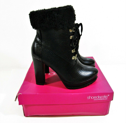 Shoedazzle Women's  Black Anneli High Heel Booties Size 10